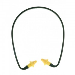 Arceau antibruit en plastique noir, bouchons d'oreille jaune en polyuréthane.